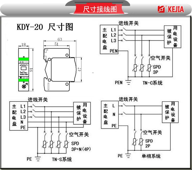 20ka配电终端电源防雷器  适用于交流50/60hz,380v及以下的交流供电