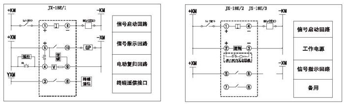 注:1电流回路电流继电器2出口中间继电器 虚线框内为继电器内部接线,框外为用户外接元件 7继电器外形尺寸和开孔尺寸见附录图 JX-18A/口口口 BK-2外壳 见附录1.图7 JX-18B/口口口 JX-18C/口口口 JX-18D/口口口 JK-5外壳 见附录1.图10 JX-18E/口口口 BK-5外壳 见附录1.图11 JX-18F/口口口 凸出端子插拔板前接线式结构 见附录1.图5 JX-18G/口口口 CJ-I外壳 见附录1.图3 8订货须知: 订货时须注明继电器型号规格、辅助电源供电方式及结