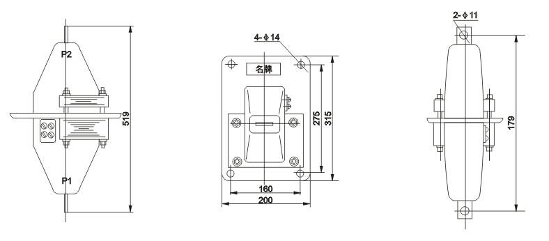 型号含义 本型电流互感器为全封闭式结构,一次线圈为复匝贯穿式;一