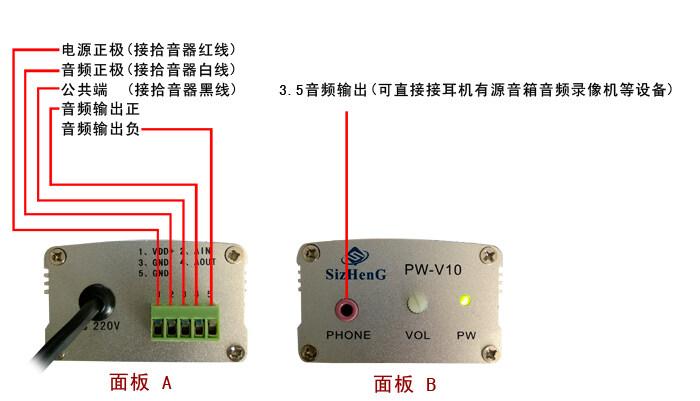 思正监控拾音器的安装连接方法