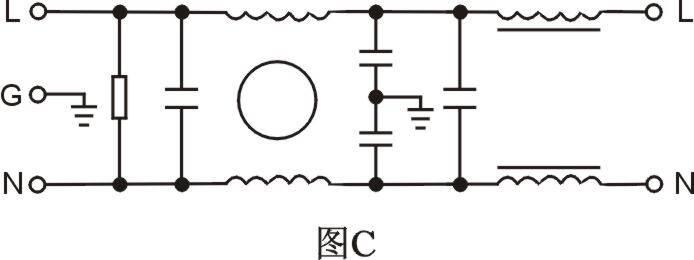 dca4-6a,dca7-20a,dcb2-50a 单相含差模滤波器 技术参数: 电路图