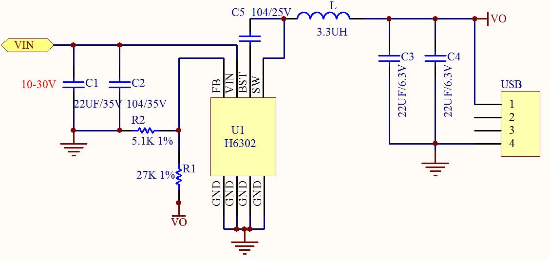 >>超高性价比同步整流车充方案h6302  【四】电路图   备注: 输出电压